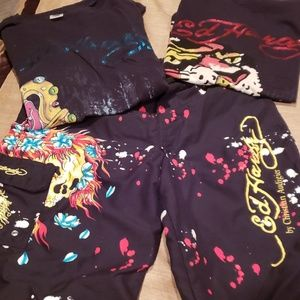 Ed Hardy Boys tees and bathing suit